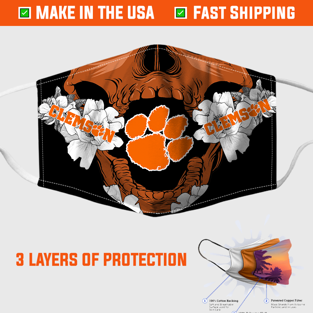 Clemson-Tigers-Skull-Face-Mask 1
