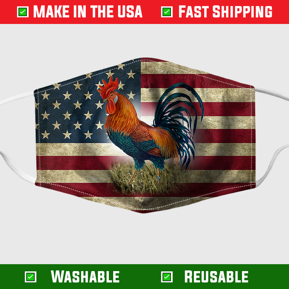 Rooster American Flag Face Mask - Made in the USA 8