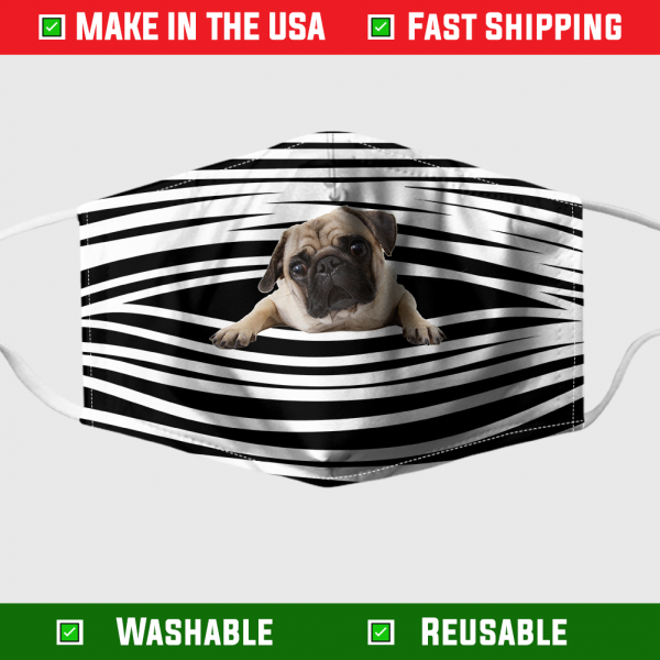 Pug Stripes Face Mask - Made in the USA 1