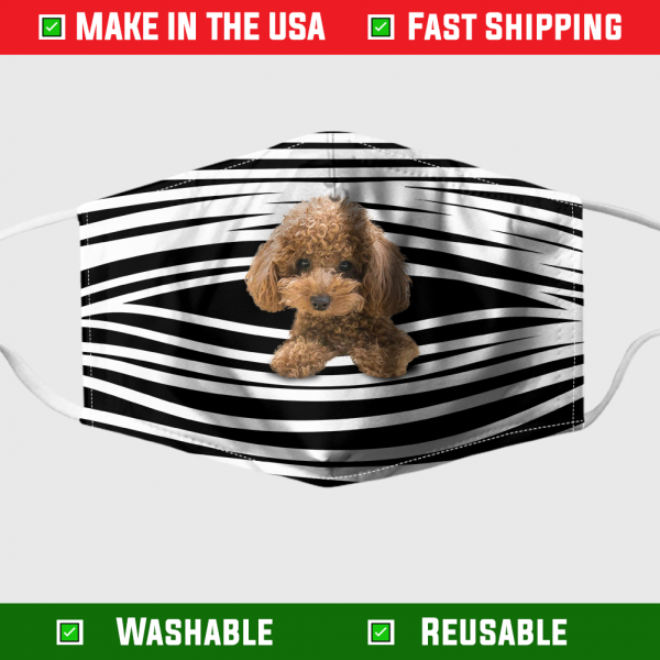 Poodle Stripes Face Mask – Made in the USA 1