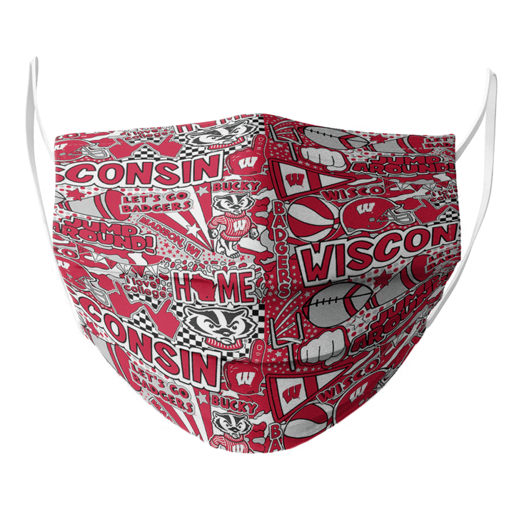 WISCONSIN BADGER FACE MASK - Made in USA 1