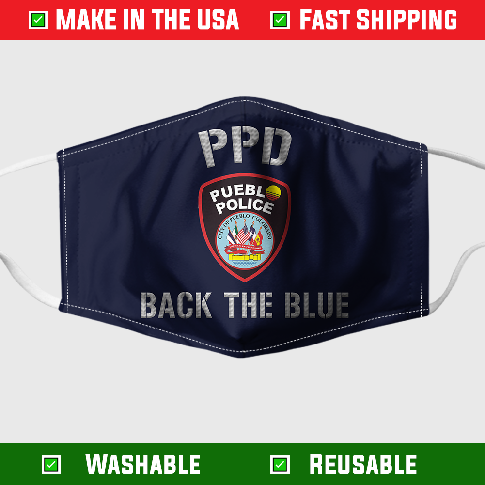 PUEBLO POLICE DEPARTMENT BACK THE BLUE FACE MASK 1