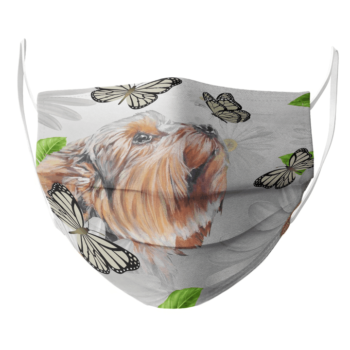 YORKSHIRE TERRIER DAISY AND BUTTERFLY FACE MASK 2