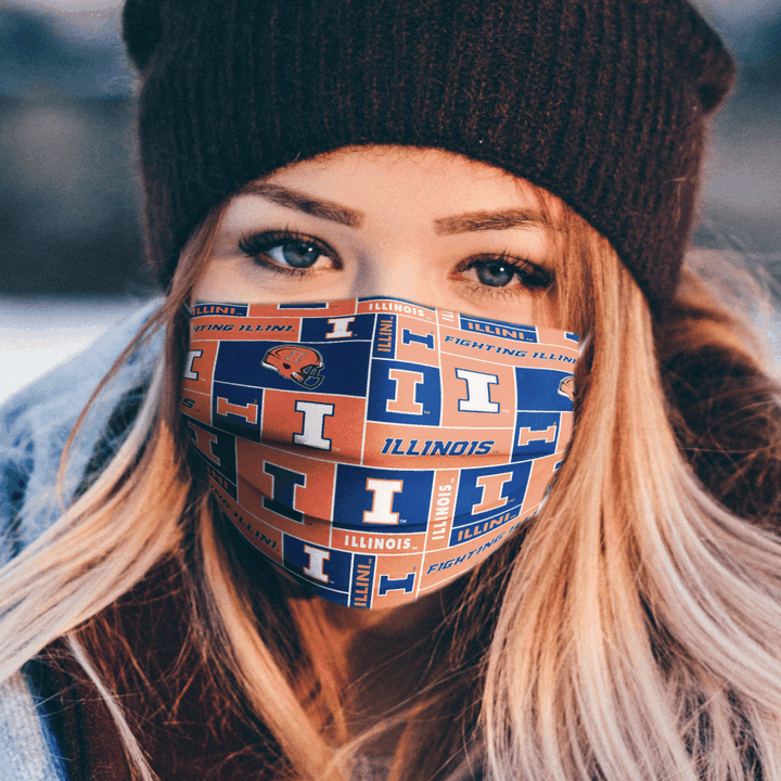 ILLINOIS FIGHTING ILLINI CLOTH FACE MASK - Made in USA 1