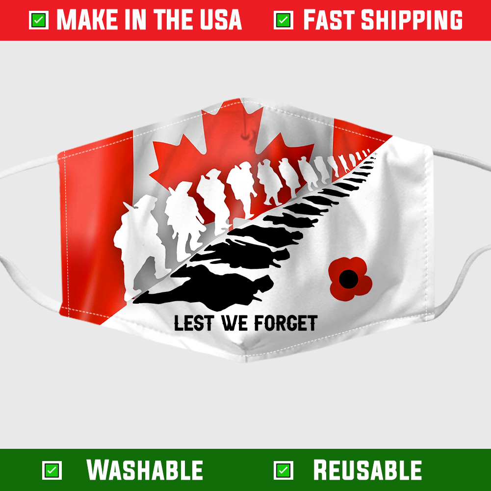 Lest We Forget Canada Flag Face Mask 255037