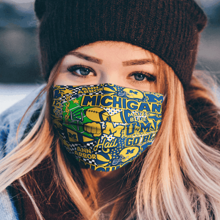MICHIGAN WOLVERINES CLOTH FACE MASK - Made in USA 1