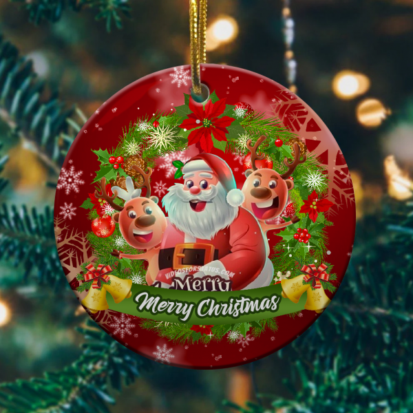 Merry Christmas Cute Cartoon Santa Claus Reindeer Ornamentmk.png