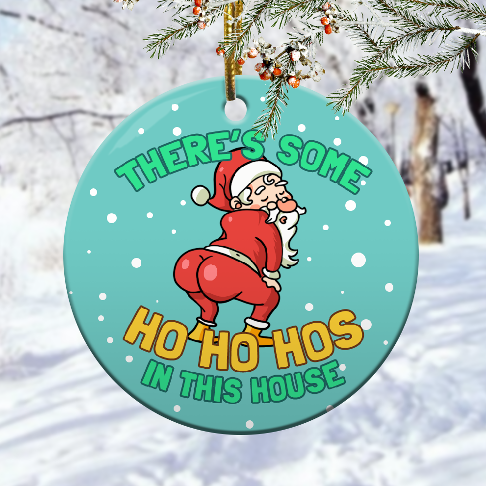 There's Some Ho Ho Hos In This House Funny Naughty Santa Christmas Ornament 1
