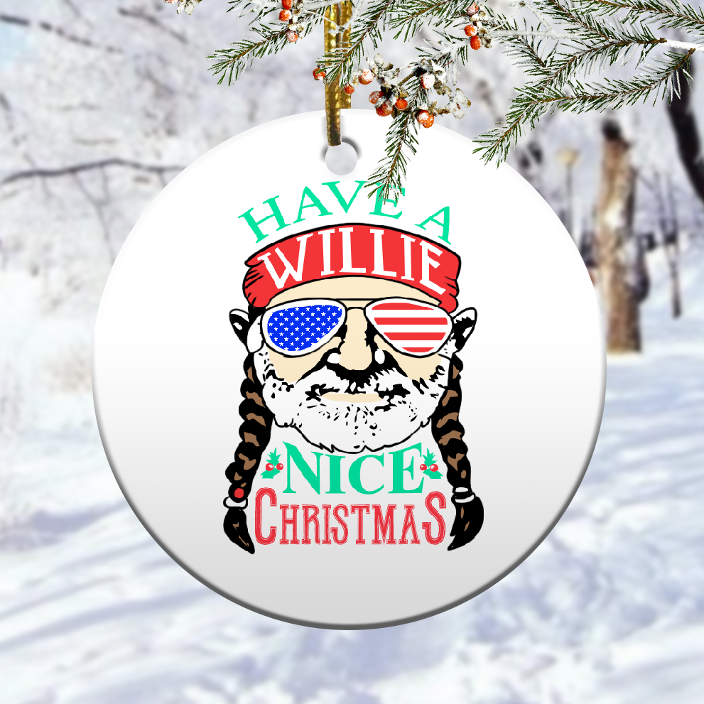 Willie nelson have nice christmas ornament 1